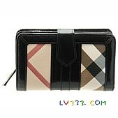 BURBERRY包/圍巾/皮夾:【LV超3A】BURBERRY 格紋中夾-黑色 (1).jpg