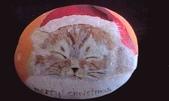 彩繪石頭 Rock Paintings:Sleeping Cat Merry Christmas.jpg