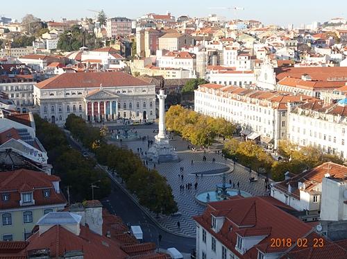 里斯本從聖胡斯塔升降機看羅西歐廣場.JPG - 201802葡萄牙藍瓷10天