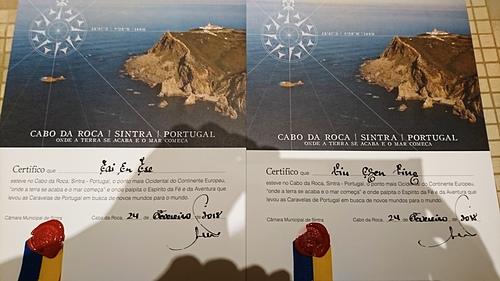 羅卡角歐洲最西端旅遊證明書.JPG - 201802葡萄牙藍瓷10天