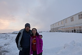 201702荷比冰之旅:克勞斯圖爾冰島航空酒店雪地裡的日出.JPG
